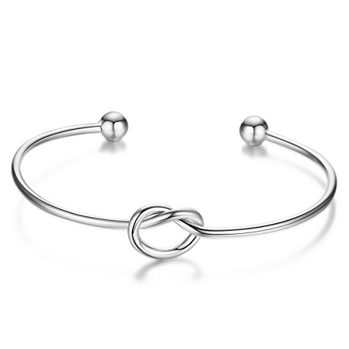 SHEGRACE Simple Love Knot Bracelet Tie the Knot Cuff Bangle, 925 Silver Bangle Bracelet for Women