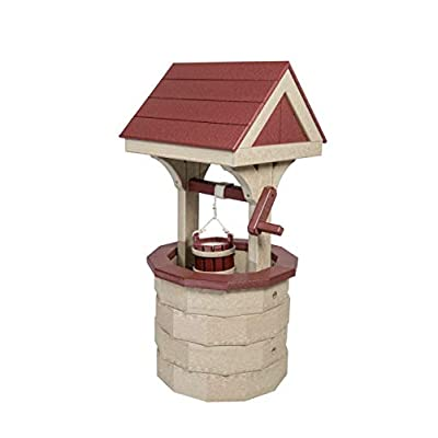 DutchCrafters Small Wishing Well with Poly Roof (Birchwood/Cherrywood) : Garden & Outdoor