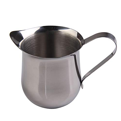 Laz-Tipa - 8OZ Stainless Steel Coffee Milk Frothing Jug Waist Shape Espresso Coffee Pitcher Barista Craft Kitchen Accessories