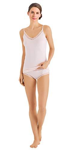 (HANRO Women's Cotton Lace Spaghetti Camisole 72434, Powder, X-Large)