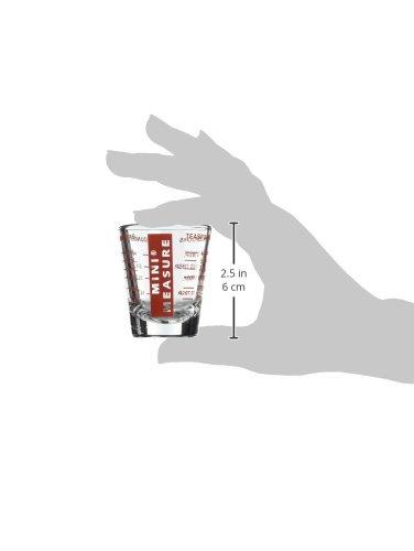 Kolder 13211 Mini Measure Heavy Glass, 20-Incremental Measurements Multi-Purpose Liquid and Dry Measuring Shot Glass, Red