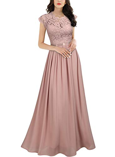 Miusol Women's Formal Floral Lace Evening Party Maxi Dress (X-Large, Pink)