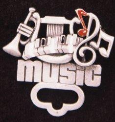 Music Pewter Pin/Badge & Eyeglass Holders, pack of - Eyeglasses Pewter