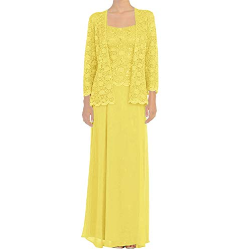 (Chiffon Mother of The Bride Dresses Long Evening Formal Dress Lace Jacket Daffodil)