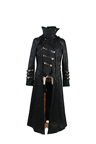 Punk Rave Men's Steampunk Twill Fabric Long Jacket Coat Detachable Stand Collar Gothic Trench Coat Black XL