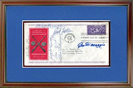 Joe DiMaggio & Others Autographed / Signed Framed Vintage First Day Cover