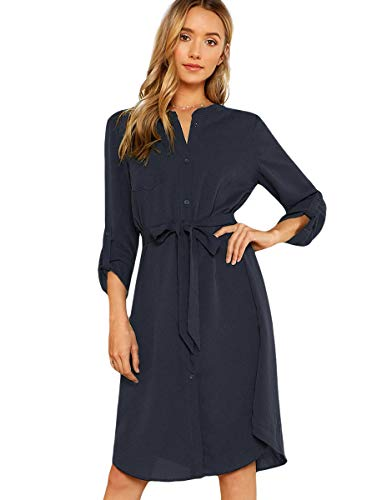Sleeve Belted Shirt Dress - 1