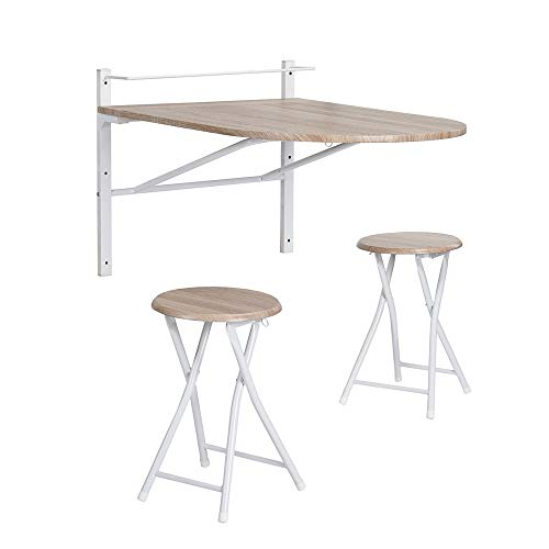 Framodo 3 pcs Wooden Kitchen Dining Table Set Wall-Mounted Drop-Leaf Folding Breakfast Table and 2 bar stools Set