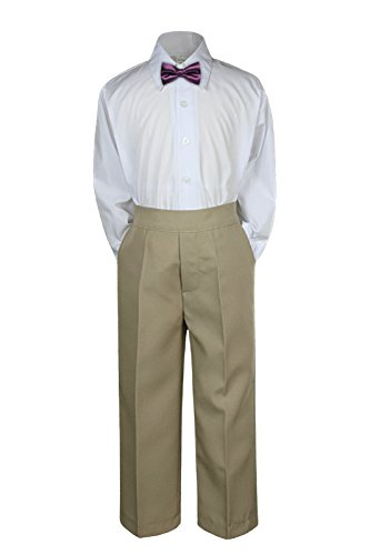 3pc Formal Baby Teens Boys Eggplant Bow Tie Khaki Pants Sets Suits S-7 (S:(0-6 months))