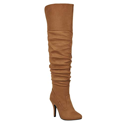 Forever Link Women's Over Knee High Sexy Boots-36,tan,9