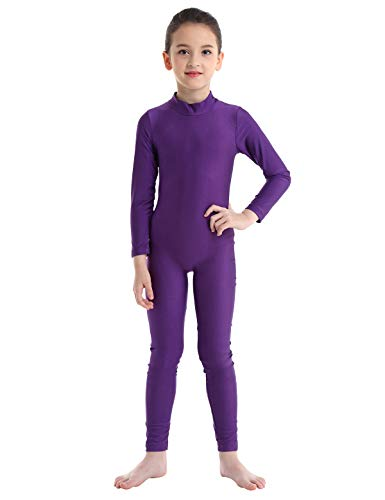 (iiniim Kids Boys Girls Long Sleeve Full Body Suit Unitard Jumpsuit Spandex Catsuit Costumes Gymnastics Leotard Purple)