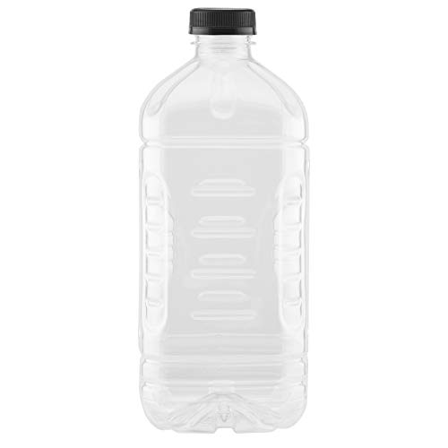 (64 OZ PLASTIC PET CARAFE PITCHER BOTTLE WITH A PINCH GRIP AND TAMPER EVIDENT CAPS BY PEXALE(TM) (2, BLACK CAPS))