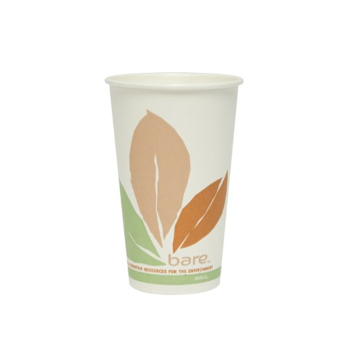 SOLO Cup Company 316PLABB Bare by Solo Eco-Forward PLA Paper Hot Cups, Leaf Design, 16 oz (Case of 1000)