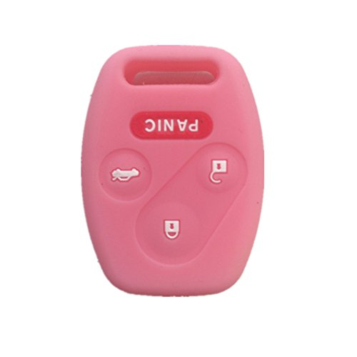 Pink Silicone Rubber Keyless Entry Remote Key Fob Case Skin Cover Protector for Honda 3+1 - Rubber Silicone Remote
