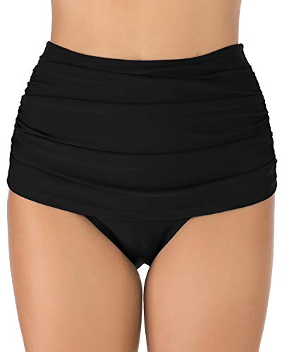 HAIVIDO Women's Swim Bottoms Full Coverage Ruched Hipster Bikini Bottoms Tankini Swimsuit Briefs Shorts Black L