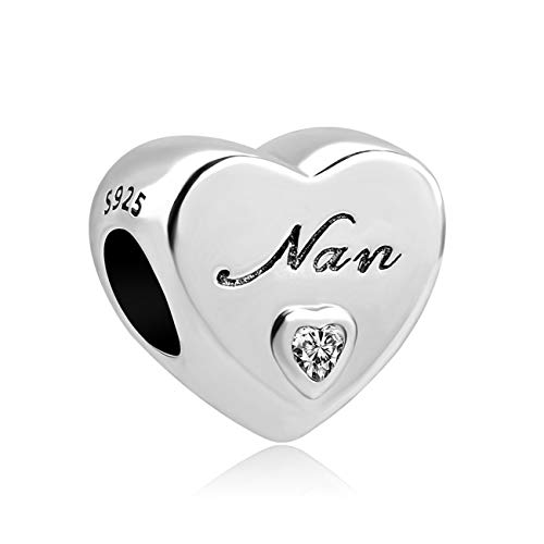 Fashbag Bead Charms for Jewelry Making,New European 1Pc 925 Silver Heart I Love You Nan Mom Sister Dad DIY Bead Fit Charm Bracelet D044 A734