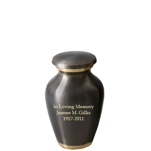 (Memorial Gallery Custom Engravable Dark Pewter with Two Gold Bands Cremation Urn (3