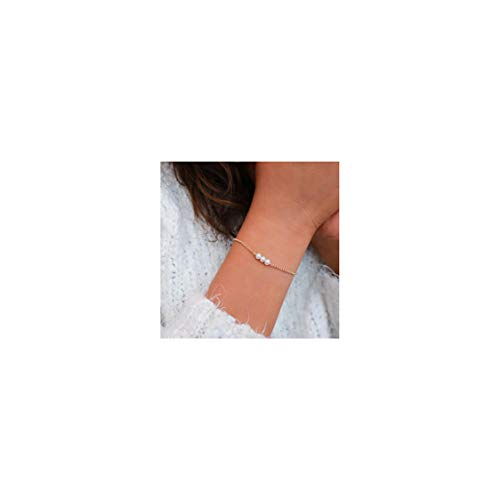 Mevecco Freshwater Tiny Gold Pearl Bracelet,14K Gold Plated Cute Dainty Delicate Three Pearls Simple Minimalist Link Chain White Cultured Beaded Pearl Charm Bracelet for ()