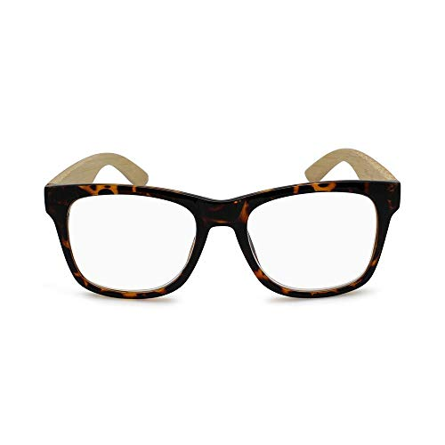 (2SeeLife - Premium Eco Bamboo Wood Square Readers Man Woman Magnify Reading Glasses (Black, Tortoise Brown))