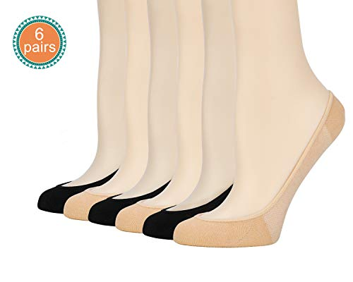 Low Liner (Womens No Show Ultra Low Cut Liner Non Slip Cotton Socks with Grip Gel 6 Pairs (3Black+3Beige, 6.5-8))