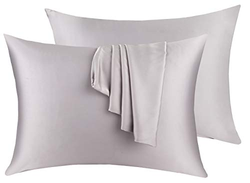 Natural Silk Pillowcase Set of 2 for Hair &Skin - Both Sides 19 Momme 600 Thread Count with Hidden Zipper