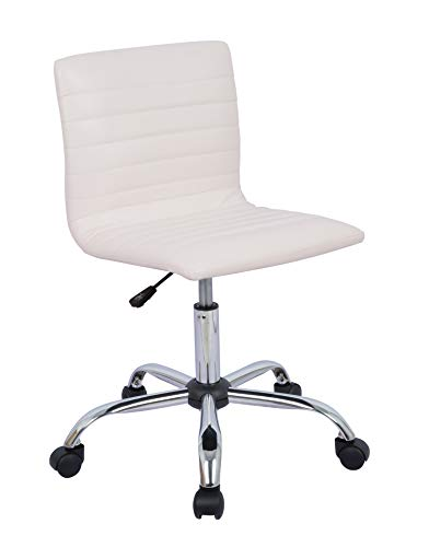 AmazonBasics Modern Adjustable Low Back Armless Ribbed Task Chair, White, BIFMA Certified