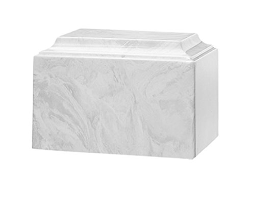 (Trinityurns Classic Cultured Marble Cremation Urn for Human Ashes - Adult/Large Size, Marble Urn, Adult Affordable Urn for Human Ashes Suitable for Ground Burial or Home Memorial (White))