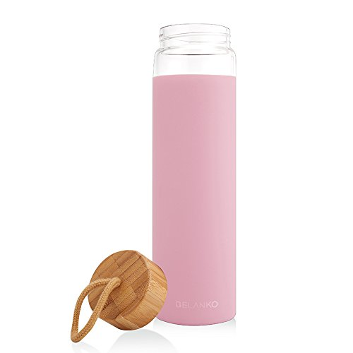 BELANKO 20oz. Glass Water Bottle with Silicone Protective Sleeve and Bamboo Lid - BPA Free
