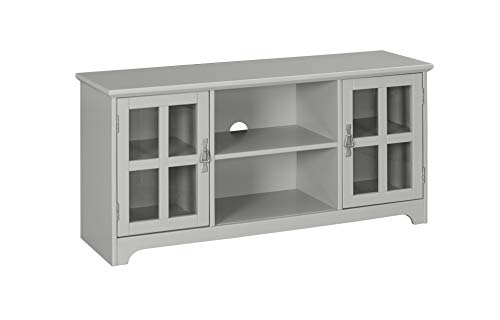 (Ravenna Home Peterson Modern Glass Cabinet Storage TV Media Entertainment Console Stand, 46