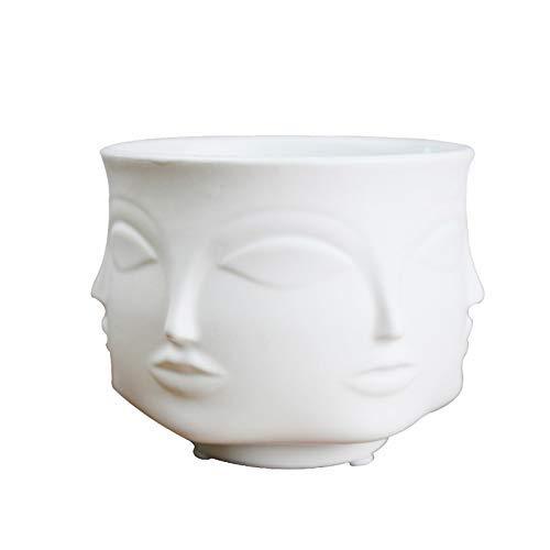 Poitemsic Personality White Ceramic Small Succulent Cactus Face Planter Head Face Flowers Plant Pots Vase