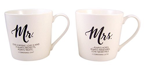 Mr. and Mrs. Coffee Mug Set with Love is Patient Bible Scripture, Set of 2, 12 Ounce]()