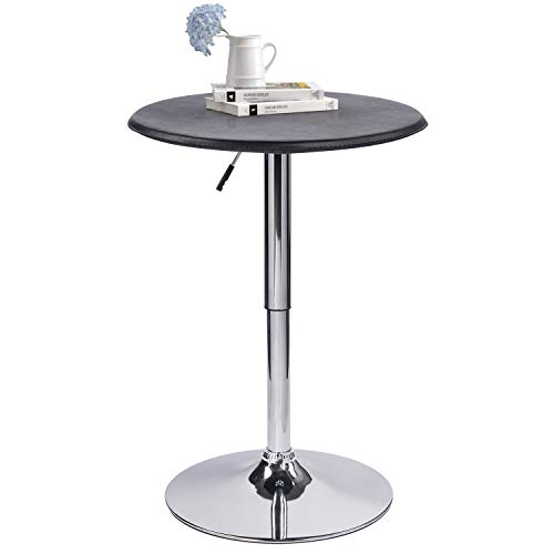 (Modern Pub Table Adjustable Height 360 Swivel Round Kitchen Bar Table - Faux Leather top Cover, Metal Leg and Base - 24.4