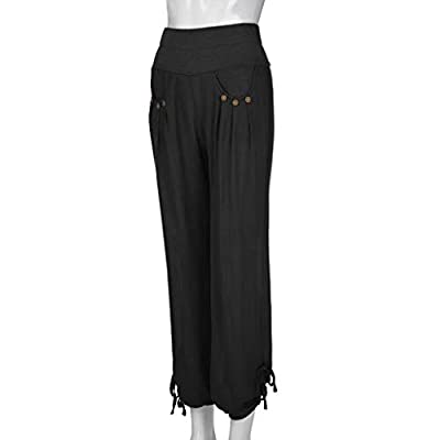 Meikosks Ladies Cotton and Linen Pants Buttons Solid Colors Trousers Plus Size Bottoms Wide Leg Pant: Clothing