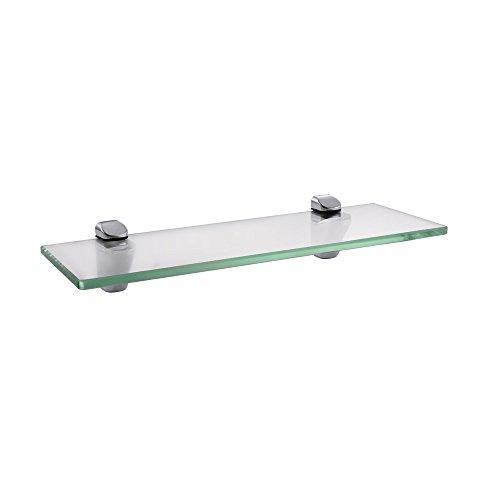 KES Badablage Glasregal Eckablage Glasbodenträger aus Edelstahl und Glas, Klar und Silber, BGS3202S35