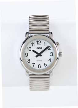 Divine Medical Talking Ladies Watch 1-Button White Face - Silver Exp. Band by LSS