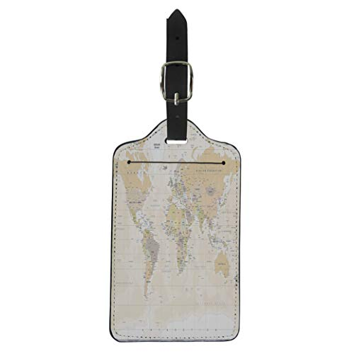 (Pinbeam Luggage Tag Beige World Map in Vintage High Detailed Worldmap Suitcase Baggage Label)