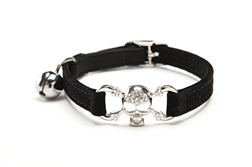 Studded Ruffle (Black Skull Bling Cat Collar with Safety Belt and Bell 8-11)