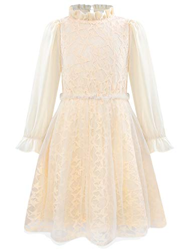 Bonny Billy Girls Long Sleeve Ruffle Neck Lace Girls Party Dresses for Teens 10-12 Beige