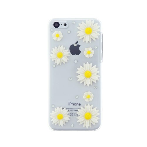 CaseBee® Flower Series - Simple & Pretty 3D Daisies Flower iPhone 5C Case - Handmade Bling Bling Rhinestones - Perfect Gift (Package includes Extra Crystals & Screen Protector) (Clear)