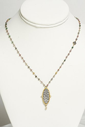14k Gold Chain with Gold encased Oval Pendant and Multi-Colored Tourmaline Beads
