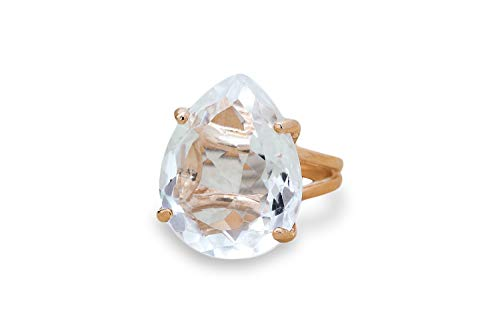 Anemone Jewelry Fine 14k Rose Gold Ring with Crystal Quartz - Artisan-made Women Rings for All Occasions and Everyday Wear [Free Fancy Box] 14k Quartz Jewelry Box