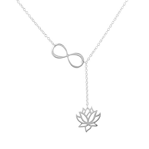 Flowers Gold Jewelry Set - CHUYUN Number 8 Infinity Lotus Flower Necklace Bridesmaid Gifts Wedding Jewelry Sets (silver)