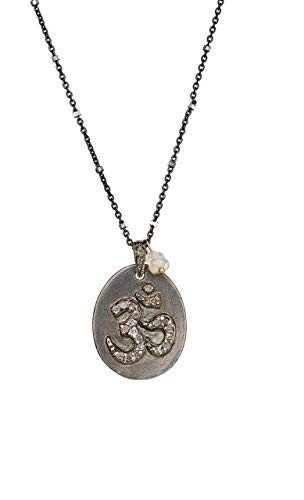 Ohm Medallion Necklace Genuine Pave Diamond with Ethiopian opal sterling silver -17 inches