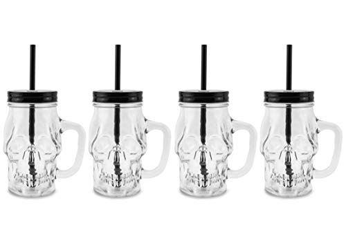 Darware Skull Mason Jar Glasses with Straws (Set of 4); Clear 12oz Glass Mugs with Reusable ()