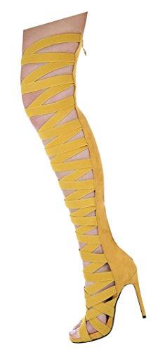 Damen Sandaletten Schuhe High Heels High Heels stiletto Sommer Stiefel Gelb