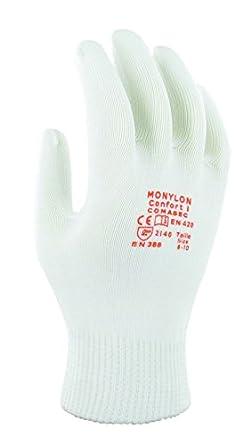 Taglia 6-8 Protezione Meccanica Sacchetto di 12 Paia Ansell Monylon Confort 1 Guanto Multiuso Bianco