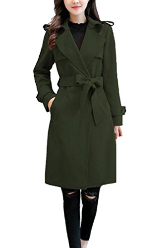 Army Surplus Wool Pants (XiaoShop Womens Plus Size Midi Casual Warm Wool-Blend Trench Coat Cardigan Army Green S)