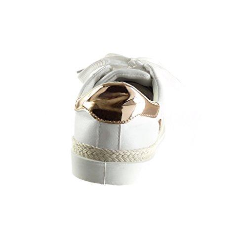 Angkorly - Chaussure Mode Baskets Tennis basse femme etoile pailettes brillant Talon plat 1.5 CM - Champagne