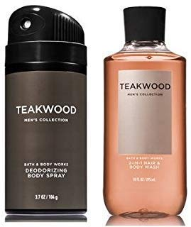 - Bath and Body Works Men's Collection Deodorizing Body Spray & 2 in 1 Hair and Body Wash TEAKWOOD.
