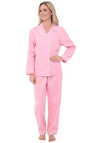 Nick Nora Sleepwear - Alexander Del Rossa Womens Woven Cotton Pajama Set with Pants, Long Sleeve Button Down Pjs, Medium Pink with Small White Dots (A0517R55MD)
